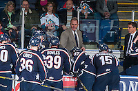 KELOWNA, CANADA - JANUARY 22: Mike Williamson, head coach of the Tri City Americans stands on the bench against the Kelowna Rockets on January 22, 2016 at Prospera Place in Kelowna, British Columbia, Canada.  (Photo by Marissa Baecker/Shoot the Breeze)  *** Local Caption *** Mike Williamson;