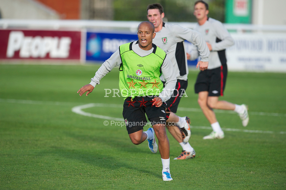 BRAY, REPUBLIC OF IRELAND - Tuesday, May 24, 2011: Wales' Robert Earnshaw during a training session at Bray Wanderers' Carlisle Grounds ahead of the Carling Nations Cup match against Scotland. (Photo by David Rawcliffe/Propaganda)
