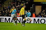 Burton Albion striker Lucas Akins (10) has a shot for Burton Albion during the The FA Cup 3rd round match between Watford and Burton Albion at Vicarage Road, Watford, England on 7 January 2017. Photo by Richard Holmes.
