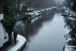 © Licensed to London News Pictures. 01/02/2019. London, UK. A snow covered, winter scene at Little Venice in West London as large parts of the UK are deluged with snow and freeing temperatures. Photo credit: Ben Cawthra/LNP