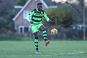 Forest Green Rovers Manny Monthe(6) controls the ball during the The Central League match between Cheltenham Town Reserves and Forest Green Rovers Reserves at The Energy Check Training Ground, Cheltenham, United Kingdom on 28 November 2017. Photo by Shane Healey.