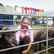 CR0002852 Kinross Show. Emma Lyle, Nether Pratis Farm, Leven with Mill End Yee Haa, Overall Champion in 1 Shear and Over Class, Tup Lambs (and Viewforth Cas, 1st in Tup Lamb class). 11 Aug 2018 © Copyright photograph by Tina Norris. Contact Tina on 07775 593 830 info@tinanorris.co.uk All print sales via Tina Norris. www.tinanorris.co.uk http://tinanorris.photoshelter.com