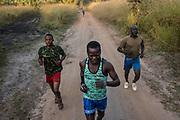 Rangers during physical training at Garamba National Park Headquarters on November 28, 2017.