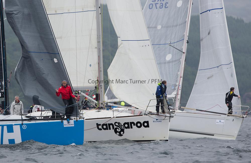Silvers Marine Scottish Series 2017<br /> Tarbert Loch Fyne - Sailing<br /> <br /> RC35 Class start with GBR 732R, Wildebeeste, Craig Latimer, Ker 32, GBR1121L, Tangaroa, Eliz &amp; Des Balmforth, CCC, Pronavia 38<br /> <br /> Credit: Marc Turner / CCC