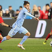 HARRISON, NEW JERSEY- November 06:  Federico Bravo #6 of New York City FC in action during the New York Red Bulls Vs Montreal Impact MLS playoff match at Red Bull Arena, Harrison, New Jersey on November 06, 2016 in Harrison, New Jersey. (Photo by Tim Clayton/Corbis via Getty Images)