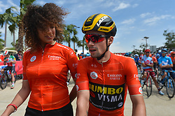 March 2, 2019 - Dubai, United Arab Emirates - The Red Jersey, Primoz Roglic of Slovenia and Team Jumbo - Visma, seen at the start line of the seventh and final stage - Dubai Stage of the UAE Tour 2019, a 145km with a start from Dubai Safari Park and finish in City Walk area. .On Saturday, March 2, 2019, in Dubai Safari Park, Dubai Emirate, United Arab Emirates. (Credit Image: © Artur Widak/NurPhoto via ZUMA Press)