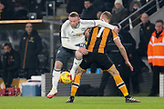 Wayne Rooney Forward of Manchester United battles with Hull City Midfielder David Meyler during the EFL Cup semi final match 2 between Hull City and Manchester United at the KCOM Stadium, Kingston upon Hull, England on 26 January 2017. Photo by Phil Duncan.