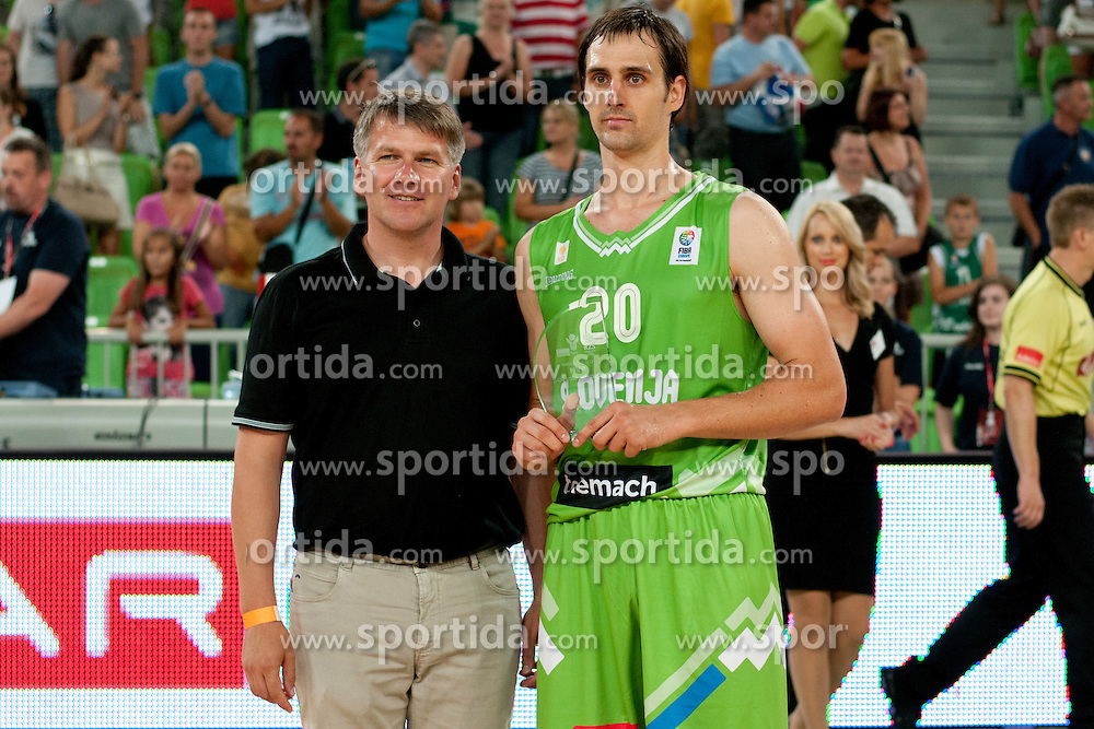 Best player Domen Lorbek of Slovenia during friendly basketball match between National teams of Slovenia and Croatia of Adecco Ex-Yu Cup 2012 as part of exhibition games 2012, on August 4, 2012, in Arena Stozice, Ljubljana, Slovenia. (Photo by Urban Urbanc / Sportida)