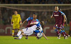 BRISTOL, ENGLAND - Tuesday, September 28, 2010: Tranmere Rovers' Joss Labadie and Bristol Rovers' Jeff Hughes during the Football League One match at the Memorial Ground. (Photo by David Rawcliffe/Propaganda)