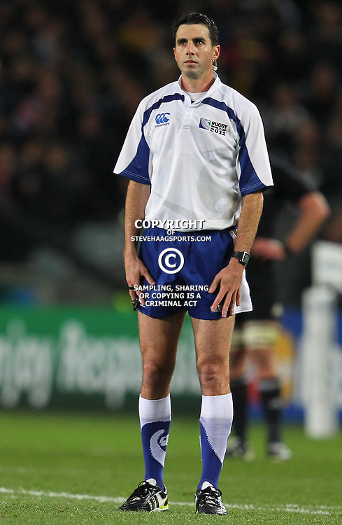 AUCKLAND, NEW ZEALAND - OCTOBER 16, Referee Craig Joubert South Africa during the 2011 IRB Rugby World Cup Semi Final match between New Zealand and Australia at Eden Park on October 16, 2011 in Auckland, New Zealand<br /> Photo by Steve Haag / Gallo Images