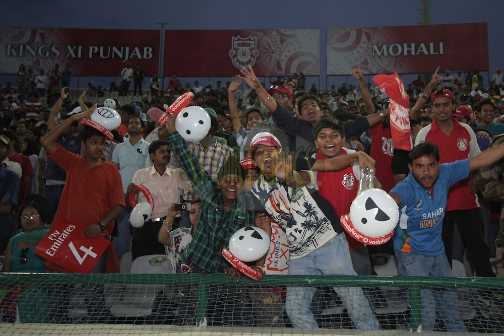 Children enjoying the game during match 9 of the Indian Premier League ( IPL ) Season 4 between the Kings XI Punjab and the Chennai Super Kings held at the PCA stadium in Mohali, Chandigarh, India on the 13th April 2011..Photo by Anil Dayal/BCCI/SPORTZPICS