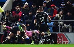 Olly Woodburn of Exeter Chiefs scores his second try  - Mandatory by-line: Alex Davidson/JMP - 13/01/2018 - RUGBY - Sandy Park Stadium - Exeter, England - Exeter Chiefs v Montpellier - European Rugby Champions Cup