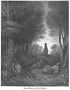 Jesus Praying in the Garden [Matthew 26:40-41] From the book 'Bible Gallery' Illustrated by Gustave Dore with Memoir of Dore and Descriptive Letter-press by Talbot W. Chambers D.D. Published by Cassell & Company Limited in London and simultaneously by Mame in Tours, France in 1866