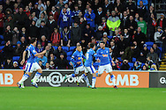 Peterborough players celebrate with Michael Bostwick ® after he scores the 1st goal. NPower championship, Cardiff city v Peterborough Utd at the Cardiff city stadium in Cardiff, South Wales on Sat 15th Dec 2012. pic by Andrew Orchard, Andrew Orchard sports photography,