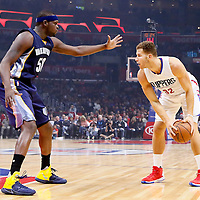 09 November 2015: Memphis Grizzlies forward Zach Randolph (50) defends on Los Angeles Clippers forward Blake Griffin (32) during the Los Angeles Clippers 94-92 victory over the Memphis Grizzlies, at the Staples Center, in Los Angeles, California, USA.