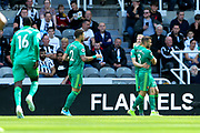 Will Hughes (#19) of Watford celebrates Watford's first goal (0-1) during the Premier League match between Newcastle United and Watford at St. James's Park, Newcastle, England on 31 August 2019.