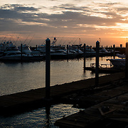 Flameno Marina in Panama City, Panama, at sunrise.
