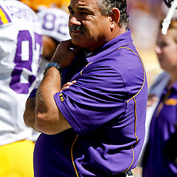 Oct 2, 2010; Baton Rouge, LA, USA; LSU Tigers defensive coordinator John Chavis on the field prior to kickoff of a game between the LSU Tigers and the Tennessee Volunteers at Tiger Stadium.  Mandatory Credit: Derick E. Hingle