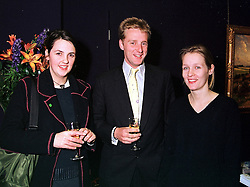 Left to right, LADY JASMINE CAVENDISH, her brother the EARL OF BURLINGTON and sister LADY CELINA CARTER, at a party in London on 9th March 2000.OBZ 46