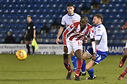 Bury Forward  Chris Maguire (7) battles for possession  during the EFL Trophy match between Bury and U23 Stoke City at the JD Stadium, Bury, England on 8 November 2017. Photo by Mark Pollitt.