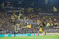"""25.10.2014, Signal Iduna Park, Dortmund, GER, 1. FBL, Borussia Dortmund vs Hannover 96, 9. Runde, im Bild Die Fans von Borussia Dortmund mit einem Apell gegen Rassismuss vot dem Spiel""""50 Spieler - 13 Nationen - 1 BVB""""""""United against Racism""""""""Nazis Aufe Sued sind uns nicht scheissegal""""""""Nazis enttarnen und bekaempfen"""" // during the German Bundesliga 9th round match between Borussia Dortmund and Hannover 96 at the Signal Iduna Park in Dortmund, Germany on 2014/10/25. EXPA Pictures © 2014, PhotoCredit: EXPA/ Eibner-Pressefoto/ Schueler<br /> <br /> *****ATTENTION - OUT of GER*****"""