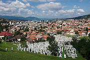 View over the city Sarajevo and cemetry with bright graves. Bosnia. Eastern Europe.