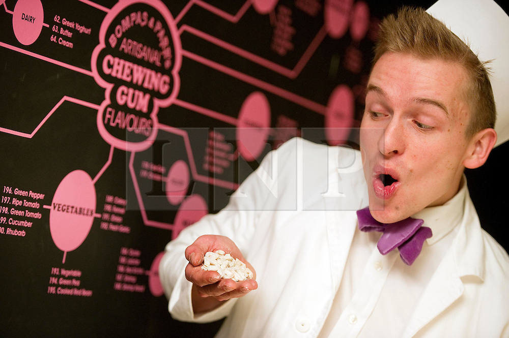 © under license to London News Pictures.  25/10/10.Architechtural foodsmith Sam Bompas chooses one of the 200 flavours available at the Artisanal Chewing Gum Factory inside Whiteleys Shoping Centre, London. .Visitors can choose and combine 40,000 flavours to create their own personal chewing gum in the newly opened micro-factory..