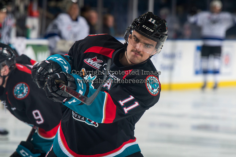 KELOWNA, CANADA - NOVEMBER 23: Erik Gardiner #11 of the Kelowna Rockets warms up against the Victoria Royals  on November 23, 2018 at Prospera Place in Kelowna, British Columbia, Canada.  (Photo by Marissa Baecker/Shoot the Breeze)