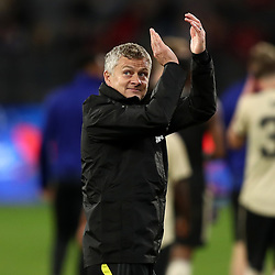 Ole Gunnar Solskjaer, Manager of Manchester United waves to the fans