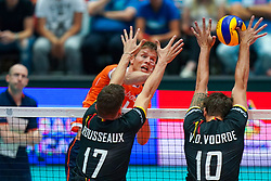 10-08-2019 NED: FIVB Tokyo Volleyball Qualification 2019 / Belgium - Netherlands, Rotterdam<br /> Third match pool B in hall Ahoy between Belgium vs. Netherlands (0-3) for one Olympic ticket / Mikasa ball block Simon Van De Voorde #10 of Belgium