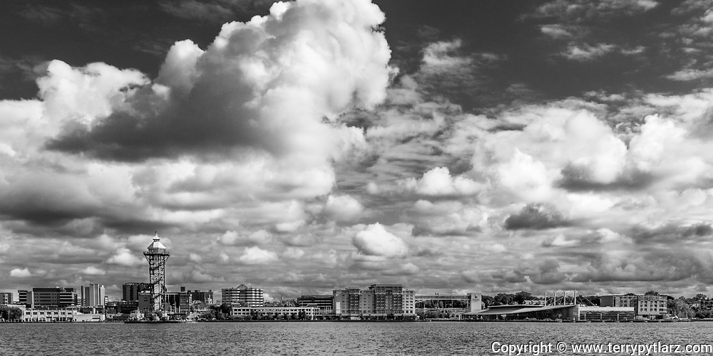 black and white, clouds, Erie