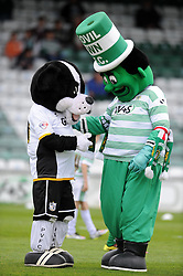 The Mascots of Yeovil Town and Port Vale chat prior to kick off. - Photo mandatory by-line: Harry Trump/JMP - Mobile: 07966 386802 - 25/04/15 - SPORT - FOOTBALL - Sky Bet League One - Yeovil Town v Port Vale - Huish Park, Yeovil, England.