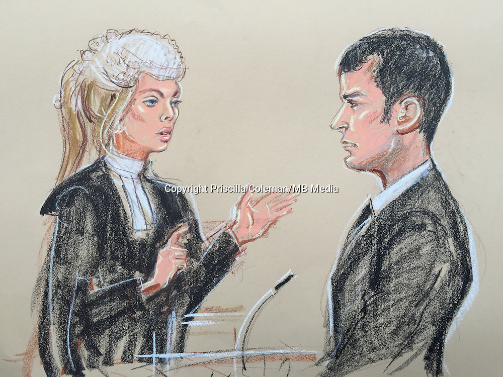 Kate Blackwell QC for the prosecution questions Adam Johnson in the witness box