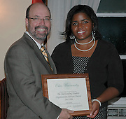 17705Student Leadership Recognition awards Ceremony at Baker Center: Photos Rebecca Grosenbaugh.Outstanding Student Organization Advisorleft to right: Terry Hogan, Leslie Delerme