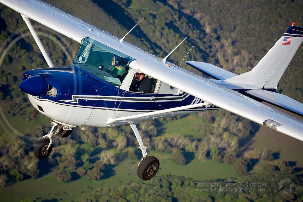 Ian Nilsen flies Cessna 150 N6316S over Central California.Photoplane pilot and C150 Owner, Erick Teeters flies C172 N71PK