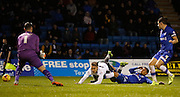 Gillingham FC defender Bradley Garmston makes a fantastic last stitch challenge on Bury FC Striker Danny Rose to win the ball during the Sky Bet League 1 match between Gillingham and Bury at the MEMS Priestfield Stadium, Gillingham, England on 14 November 2015. Photo by Andy Walter.