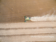 63801-09606 Soybean Harvest, John Deere combine harvesting soybeans - aerial - Marion Co. IL