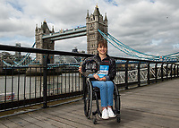 Manuela Schar SUI winner of the Abbott World Marathon Majors Series XI at a photocall and press conference at the Guoman Tower Hotel for the winners of the Virgin Money London Marathon, 23 April 2018.<br /> <br /> Photo: Thomas Lovelock for Virgin Money London Marathon<br /> <br /> For further information: media@londonmarathonevents.co.uk