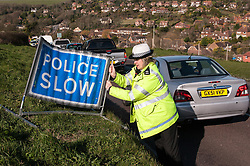 Traffic police officers operating a speed trap
