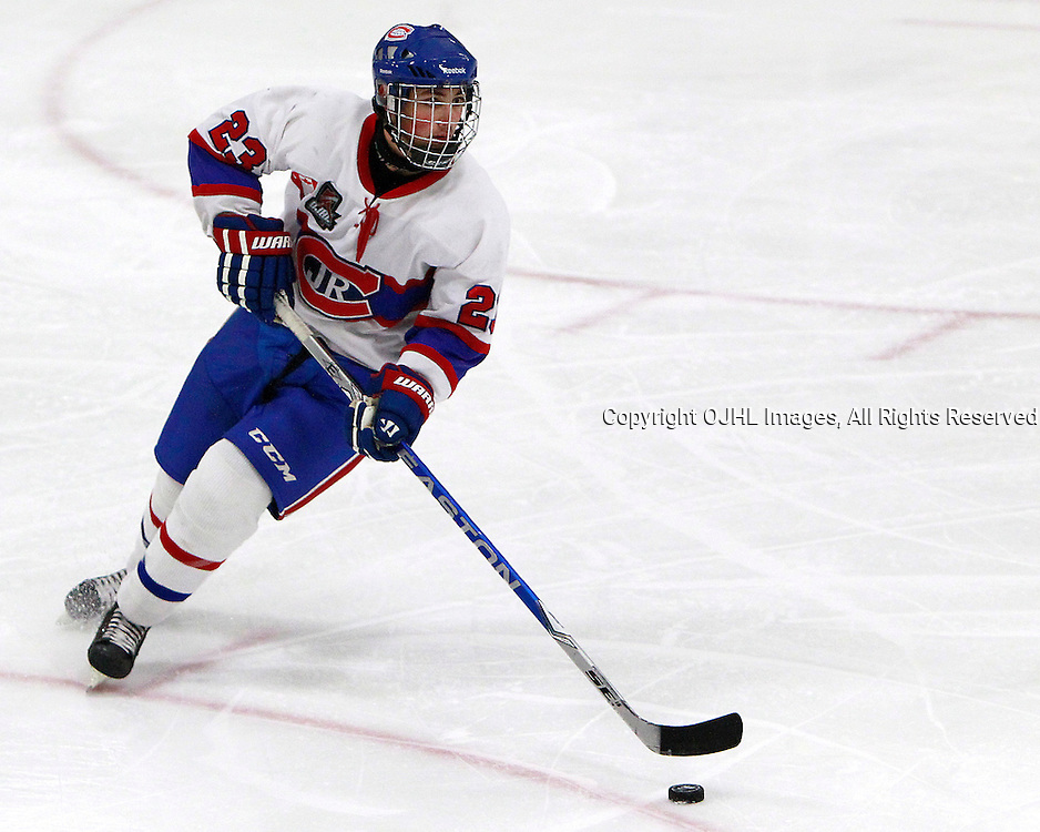 AURORA, ON - Nov 1 : Ontario Junior Hockey League Game Action between the Toronto Jr. Canadiens and the Aurora Tigers, Sal Filice #23 of the Toronto Canadiens Hockey Club skates with the puck during first period game action.<br /> (Photo by Brian Watts / OJHL Images)