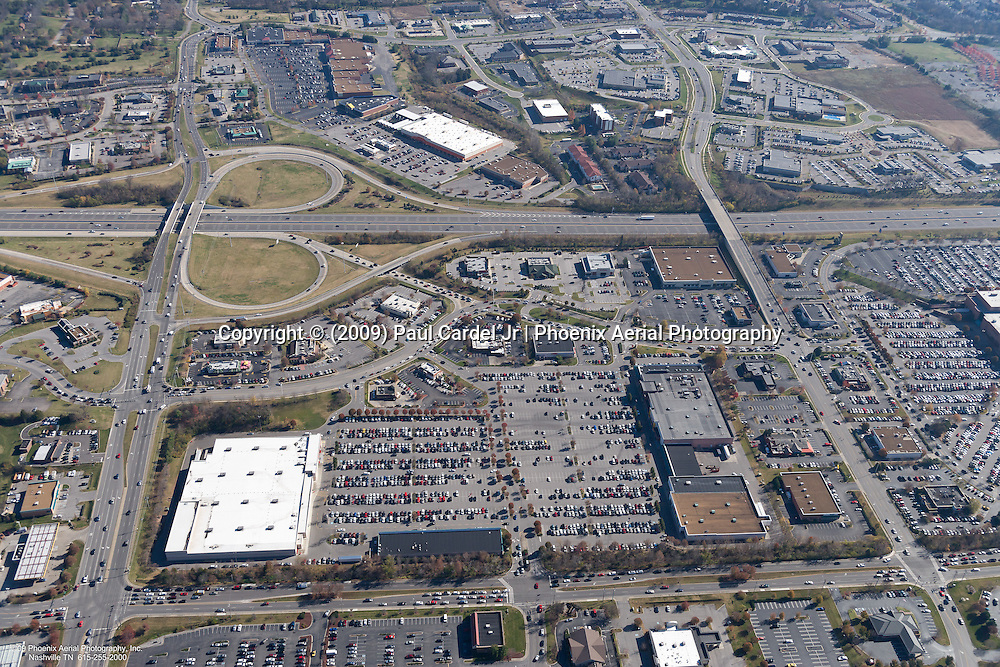 Aerial photo of retail at the intersection of I-65 and Moore's Lane in the Cool Springs area of Franklin Tennessee on Black Friday.
