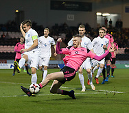 Scotland's Oliver McBurnie and Estonia's Morten Kuusk  - Scotland under 21s v Estonia international challenge match at St Mirren Park, St Mirren. Pic David Young<br />  <br /> - &copy; David Young - www.davidyoungphoto.co.uk - email: davidyoungphoto@gmail.com