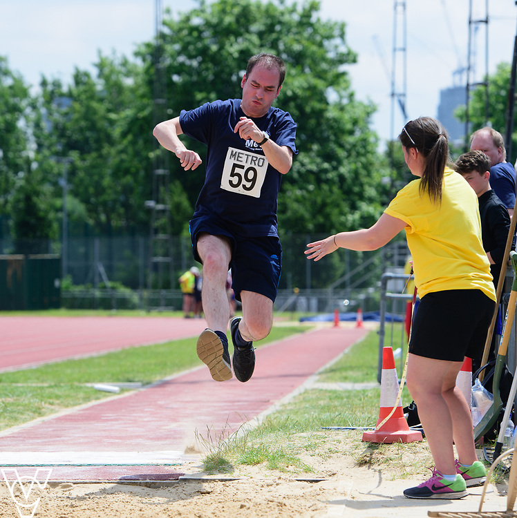 Metro Blind Sport's 2017 Athletics Open held at Mile End Stadium.  Long jump.  Vanja Sudar<br /> <br /> Picture: Chris Vaughan Photography for Metro Blind Sport<br /> Date: June 17, 2017