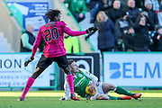 Anthony Stokes (#28) of Hibernian grabs the ball after being fouled by Dedryck Boyata (#20) of Celtic during the Ladbrokes Scottish Premiership match between Hibernian and Celtic at Easter Road, Edinburgh, Scotland on 10 December 2017. Photo by Craig Doyle.