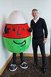 CARDIFF, WALES - Wednesday, May 29, 2019: Wales' manager Ryan Giggs with Mistar Urdd (Mr Urdd, the logo of Urdd Gobaith Cymru, Welsh League of Youth) before a press conference at the Wales Millennium Centre during the Urdd National Eisteddfod to announce the squad for the forthcoming UEFA Euro 2020 Qualifying Group E matches for Wales against Croatia and Hungary. (Pic by David Rawcliffe/Propaganda)