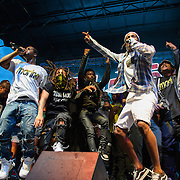 WASHINGTON, DC - August 17th, 2013 -  A$AP Rocky (third from right) makes a surprise appearance during A$AP Ferg's set  at the 2013 Trillectro Festival at the Half Street Fairgrounds in Washington, D.C.  (Photo by Kyle Gustafson / For The Washington Post)