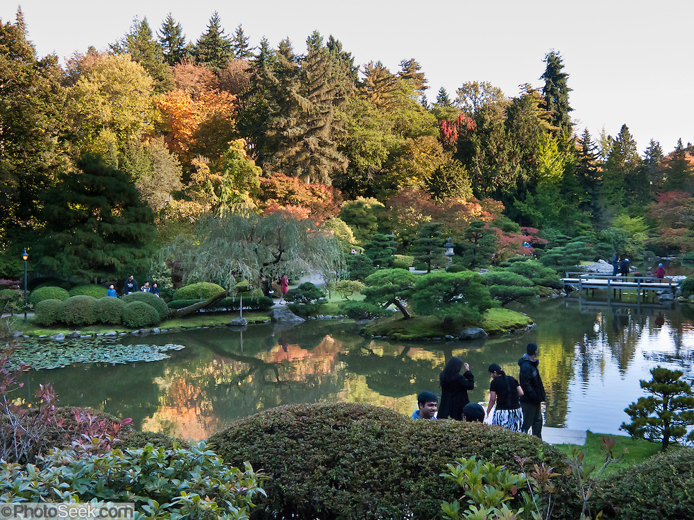 The Seattle Japanese Garden (completed 1960), Washington, is located in the southwest corner of the Washington Park Arboretum along Lake Washington Boulevard East.