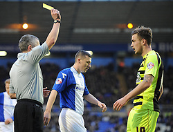Yeovil Town's Joe Ralls receives a yellow card. - Photo mandatory by-line: Dougie Allward/JMP - Tel: Mobile: 07966 386802 18/01/2014 - SPORT - FOOTBALL - St Andrew's Stadium - Birmingham - Birmingham City v Yeovil Town - Sky Bet Championship