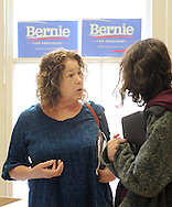 Ann Zavoda (left), of Ottsville, Pennsylvania, and Bucks County Campaign manager Lena Glickman of Philadelphia, Pennsylvania converse in the the new Bernie Sanders democratic campaign headquarters Saturday April 2, 2016 in Doylestown, Pennsylvania.  (Photo by William Thomas Cain)