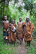 Elders of the traditional Batwa pygmies from the Bwindi Impenetrable Forest in Uganda. They were indigenous forest nomads before they were evicted from the Bwindi Impenetrable Forest when it was made a World Heritage site to protect the mountain gorillas.  The Batwa Development Program now supports them.